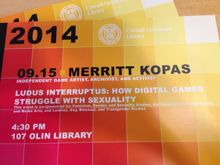 "Storify for Merritt Kopas's talk ""Ludus Interruptus: How Digital Games Struggle with Sexuality"" 9/15"