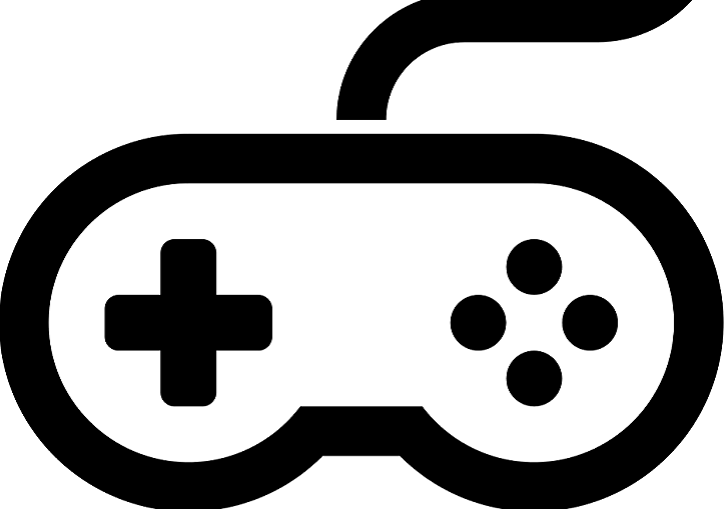 Nintendo classic style game controller icon - black line drawing
