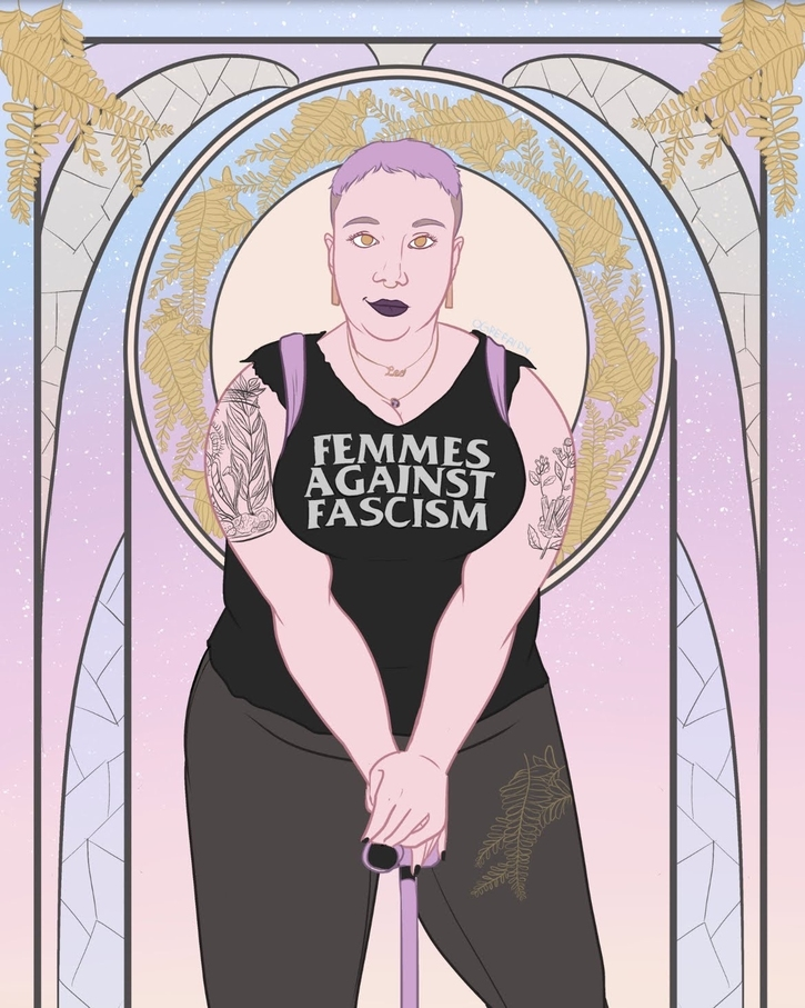 """An art deco-style portrait of the author, a fat white femme with short lavender hair. She has tattoos visible on her upper arms and wears a black sleeveless t-shirt that reads """"femmes against fascism."""""""
