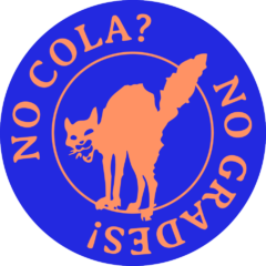 logo of the COLA strike, cat with arched back and text reads: no cola, no grades