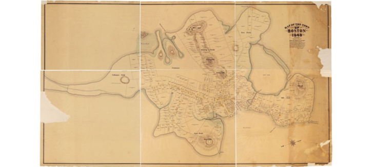 Map of Boston in 1648, by Samuel Chester Clough (1919). Historic map from the Collection at the Massachusetts Historical Society