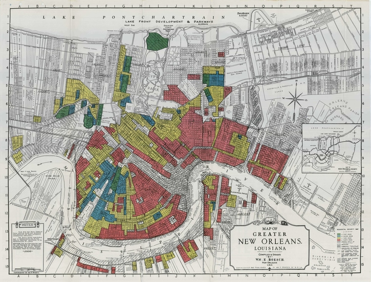 Redlining map of New Orleans