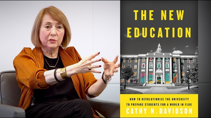 The New Education book cover and still-frame of Davidson talking