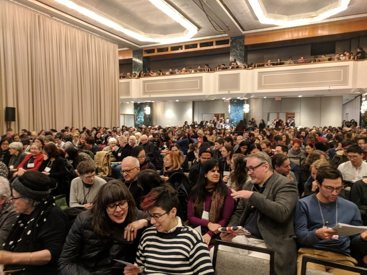 Photo of the standing-room-only audience for the MLA Presidential Plenary