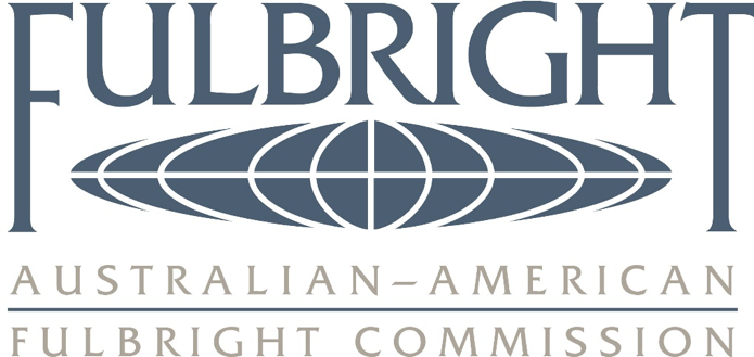 logo for FulBright, specifically the Australian-American Fulbright Commission, with squashed blue spherical image