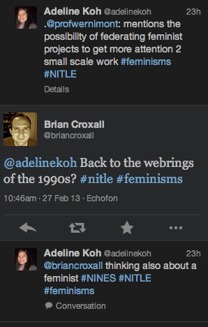 Follow up on NITLE Gender and Women's Studies and DH seminar: on histories, federation, and funding*