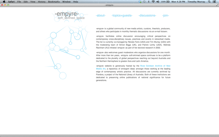 -empyre- a soft-skinned space and HASTAC partner in April