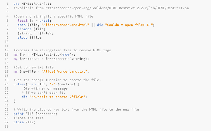 TextCleanup Perl Script for Scrubbing HTML Files