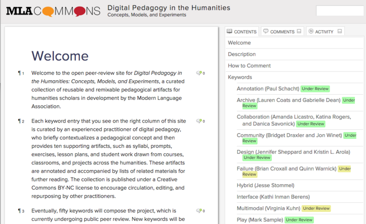 Open for Public Peer Review: Keywords for Digital Pedagogy in the Humanities #curateteaching