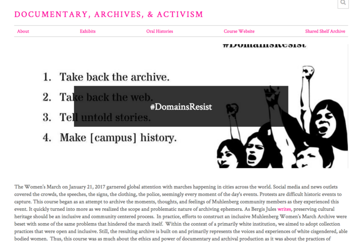 screenshot of Documentary, Archives, & Activism website