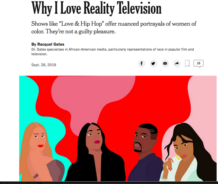 """Why I Love Reality TV"": NYT Times Op Ed by Futures Ed Prof Racquel Gates"