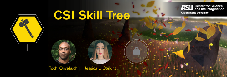 Illustration for CSI Skill Tree, with a screenshot from the video game Flower and the headshots of guests Tochi Onyebuchi and Jessica L. Conditt superimposed over it, in a video-game-inspired design