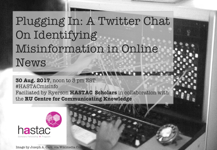 August 30- Twitter Chat on Online Misinformation
