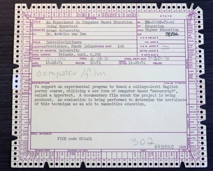 What Did Hypertext Look Like in 1974? Here's Andy van Dam's Punchcard