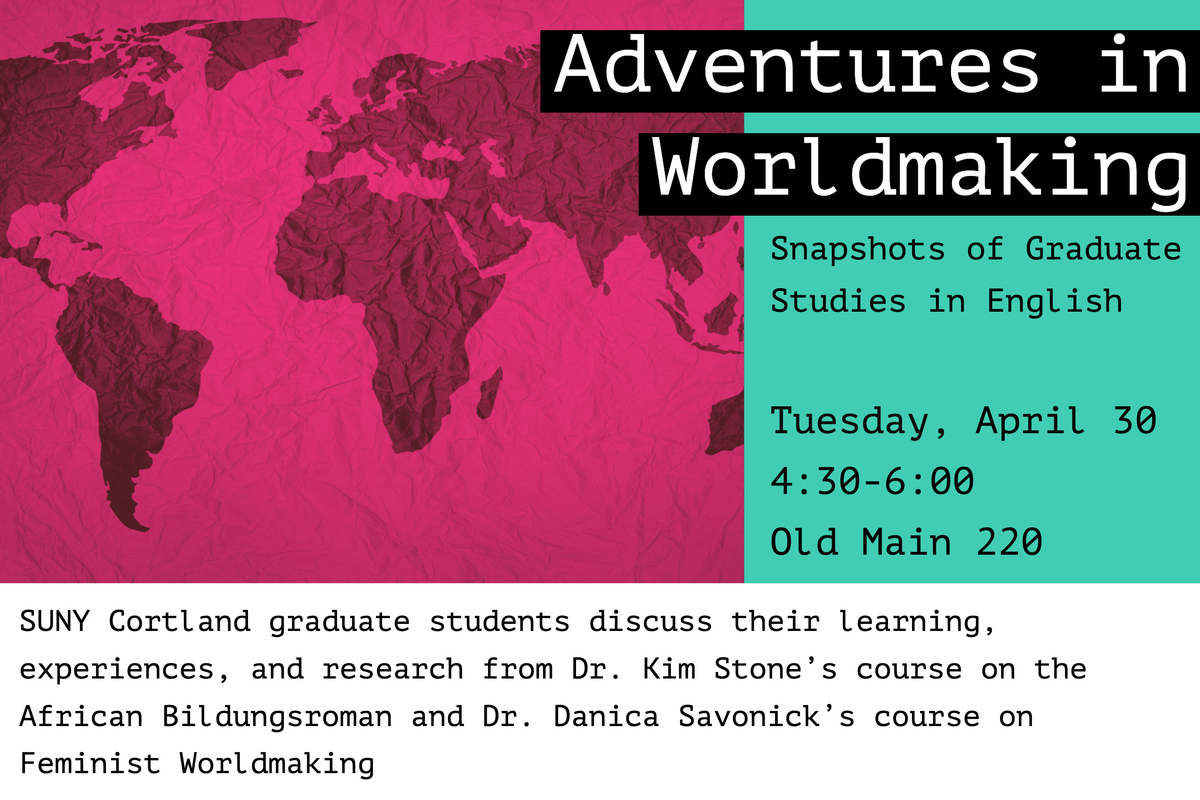 Pink and green Flyer for Adventures in Worldmaking: Snapshots of Graduate Studies in English with an Africa-centric map
