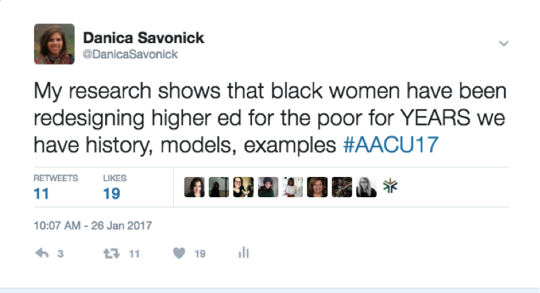 A tweet about my research on black women educators