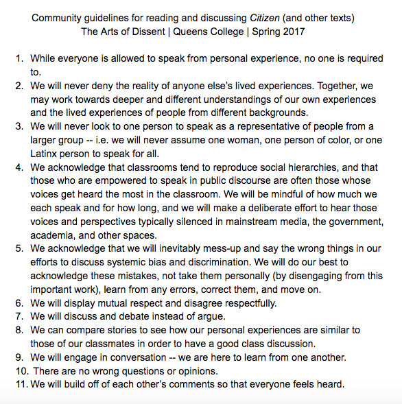 Revised community guidelines with student input