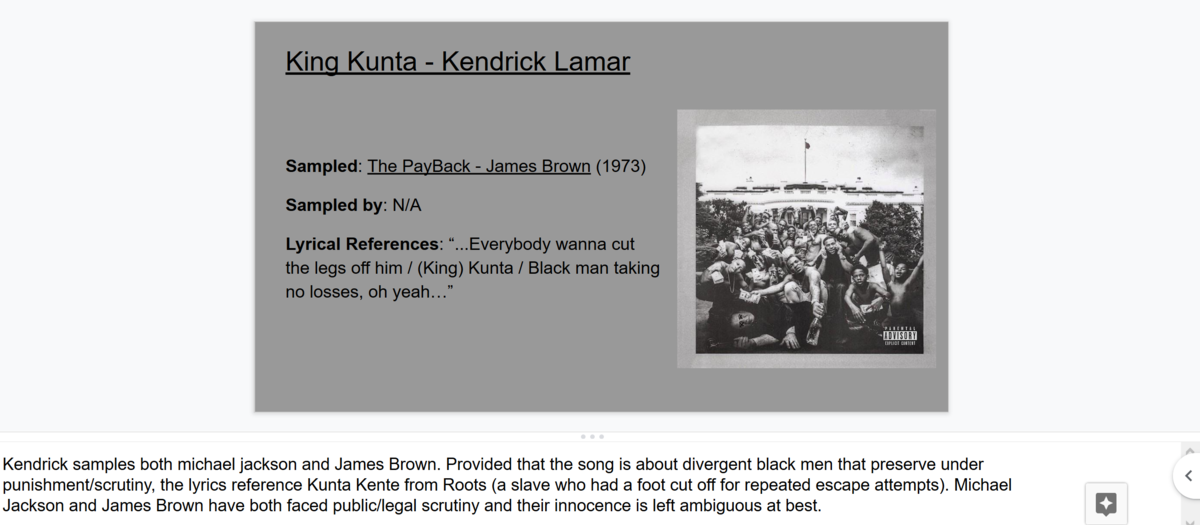 a screenshot of a google slide depicting the song slide described in the lesson plan.