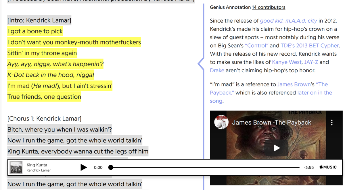 "A screenshot from the genius.com entry for Kendrick Lamar's song ""King Kunta"""