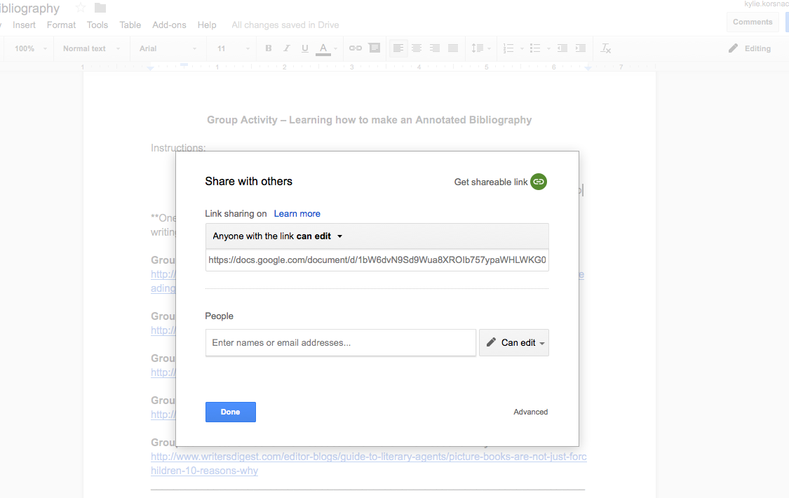 "*The image shows the dialogue box that is used to share the document with students. The option selected reads, ""Anyone with the link can edit."""