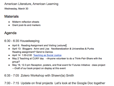 "March 30th agenda for ""American Literature, American Learning."" It includes a list of materials and 30-minute slots of activities."