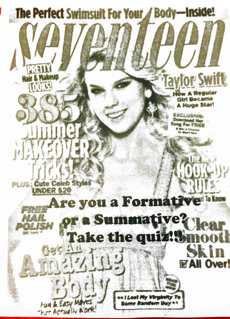 "Black and white image of a Seventeen magazine cover. Printed on the top is: ""Are you a Formative or a Summative? Take the quiz!"""