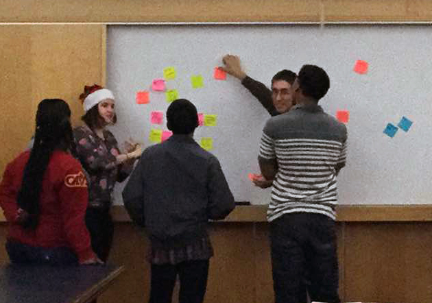 Group standing moving post-its around on whiteboard