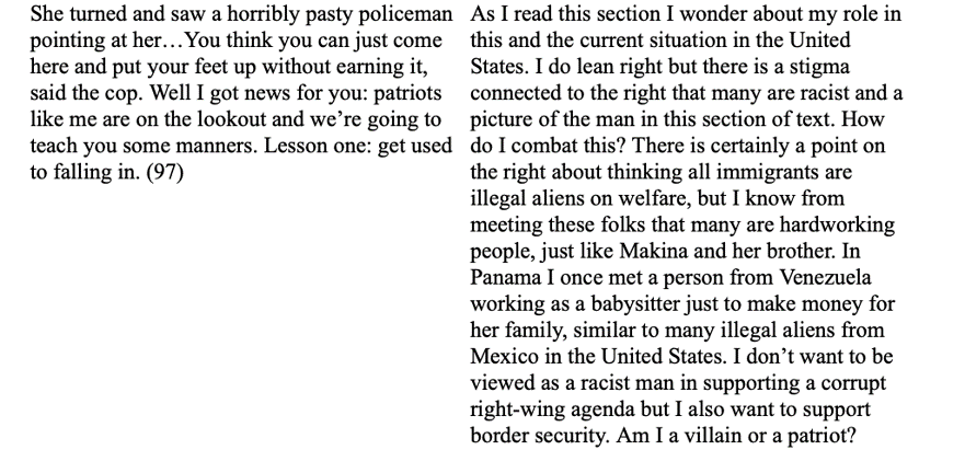 "an example of a single ""breadth entry"" response to Signs Preceding the End of the World by Yuri Herrera. This entry illustrates a rather striking example of a student using the space of the response to articulate and process their own moral dilemma. In my feedback to this student, I encouraged them to think of ""patriotism"" as the very act of nuanced reflection and critical questioning that they were displaying in their response."