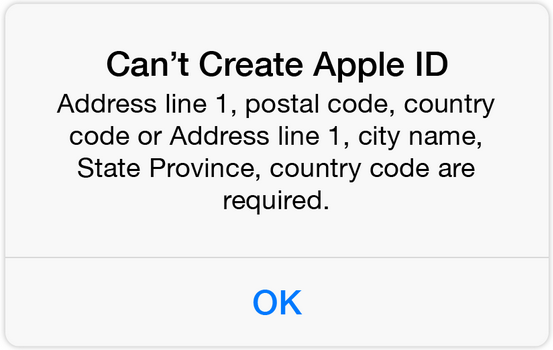 can't create an apple id