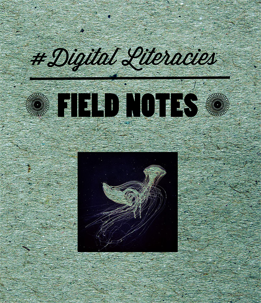 Field Notes for 21st Century Literacies book cover - x-ray of bird on textured background