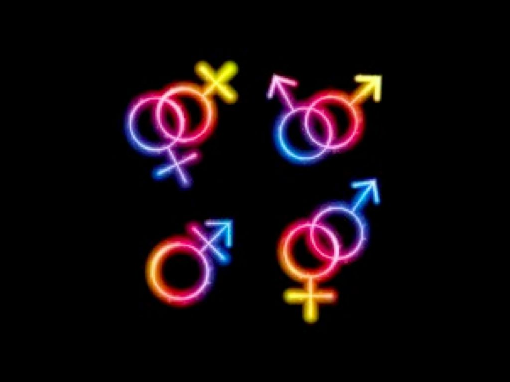 Four sets of rainbow symbols arranged in a rectangular pattern, all neon rainbow colored. From top left, clockwise: Female symbol intersecting female symbol, male intersecting male, male intersecting female, transgender symbol (male symbol with bar under arrow, derived from combining male and female symbol))