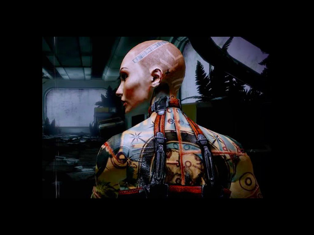 On a dark background, a computer-genderated image of a woman with her hair shaved off and copious tattoos all over her body. There is a strip of barcode-like tatoos on her head, and numerous circles and other geometric patterns in black, brown, and faded blue all over her back. Her back is to the audience, with her head in profile. There is a leather strap around her neck, running down both sides of her back.
