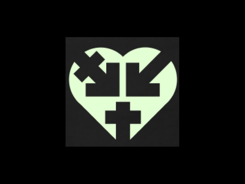 On a black background, a white heart with partial gender symbols inscribed in black. On the left lobe, a transgender arrow points toward the center. On the right, a male arrow points toward the center. At the point, the female cross points up.