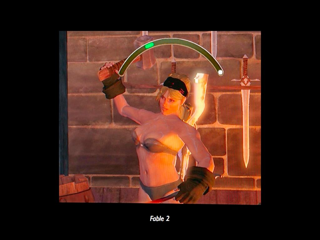 Against a brick background, a muscular, large female-bodied avatar swinging  a hammer